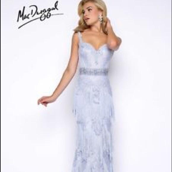 94c1002d50d Mac Duggal size 2 Ice Blue Fringe Dress